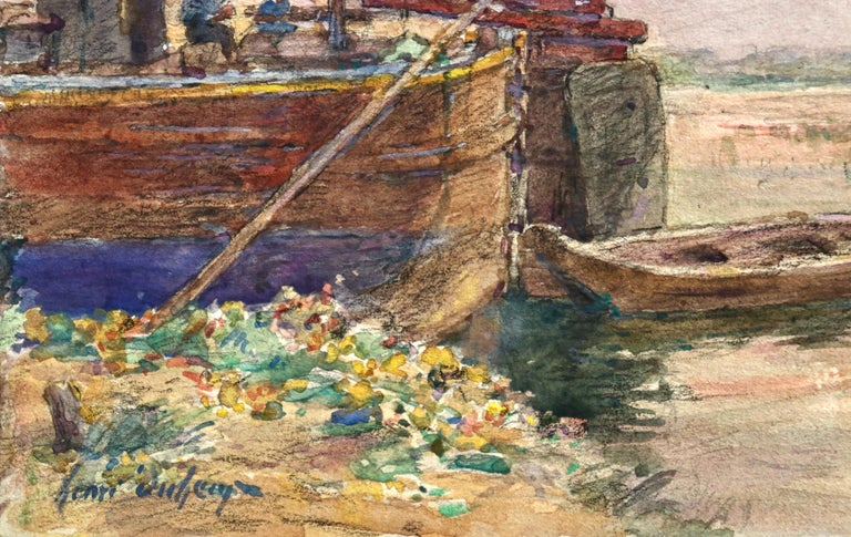 Fishing boat at sunset - Impressionist Watercolour, Boat in Riverscape - H Duhem For Sale 3
