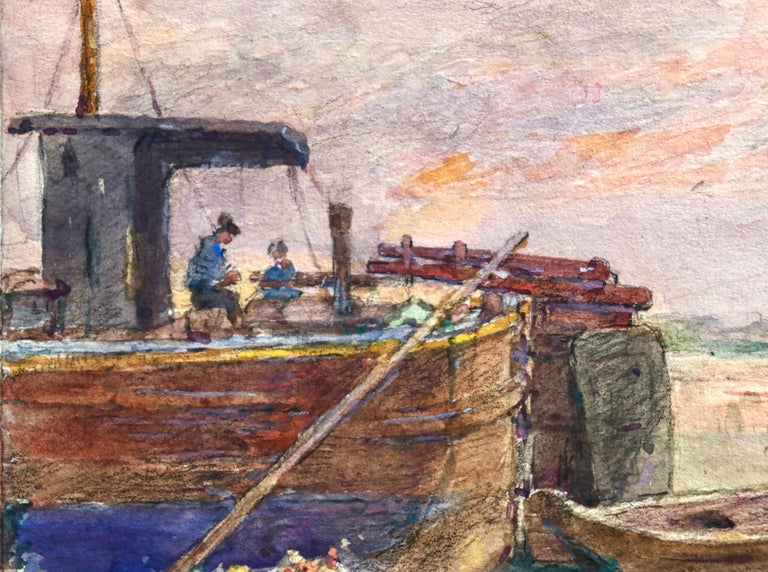 Fishing boat at sunset - Impressionist Watercolour, Boat in Riverscape - H Duhem For Sale 4