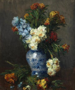 Fleurs - Impressionist Oil, Still Life of Flowers in a Vase by Ernest Quost