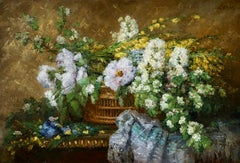 Fleurs - Impressionist Oil, Still Life of Flowers in a Basket by Ernest Quost