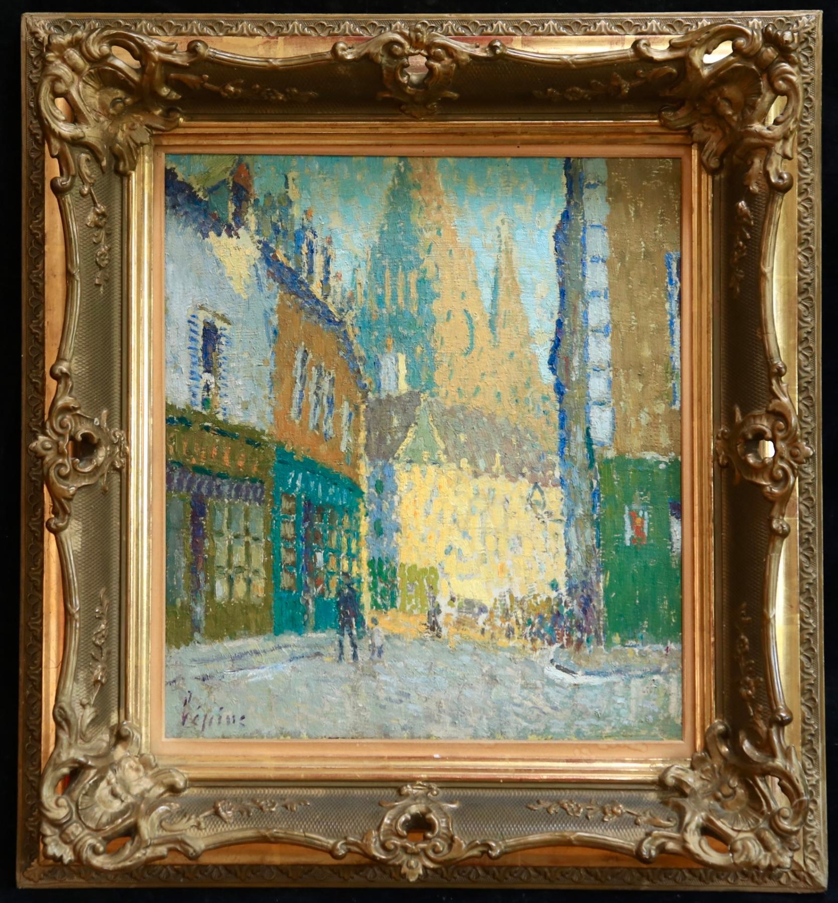 Rue de Vannes - Brittany - Pointillist Oil, Figures in Landscape by J L F Lepine
