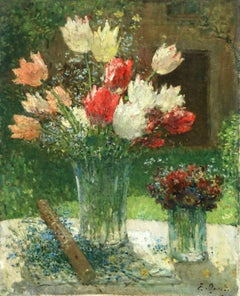 Fleurs et Flute - Impressionist Oil, Still Life of Flowers by Ernest Quost