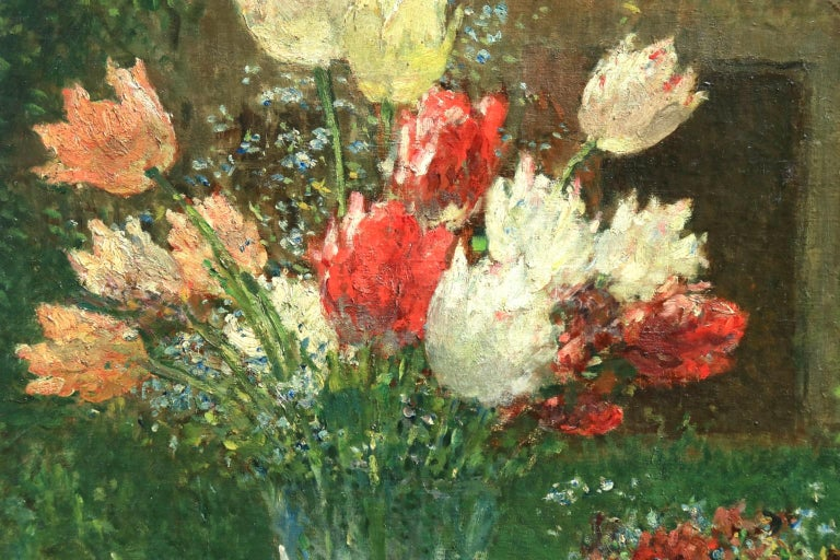 Fleurs et Flute - Impressionist Oil, Still Life of Flowers by Ernest Quost For Sale 1