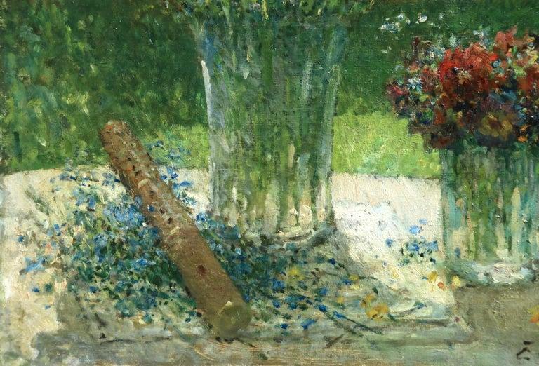 Fleurs et Flute - Impressionist Oil, Still Life of Flowers by Ernest Quost For Sale 2