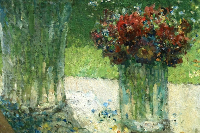 Fleurs et Flute - Impressionist Oil, Still Life of Flowers by Ernest Quost For Sale 3