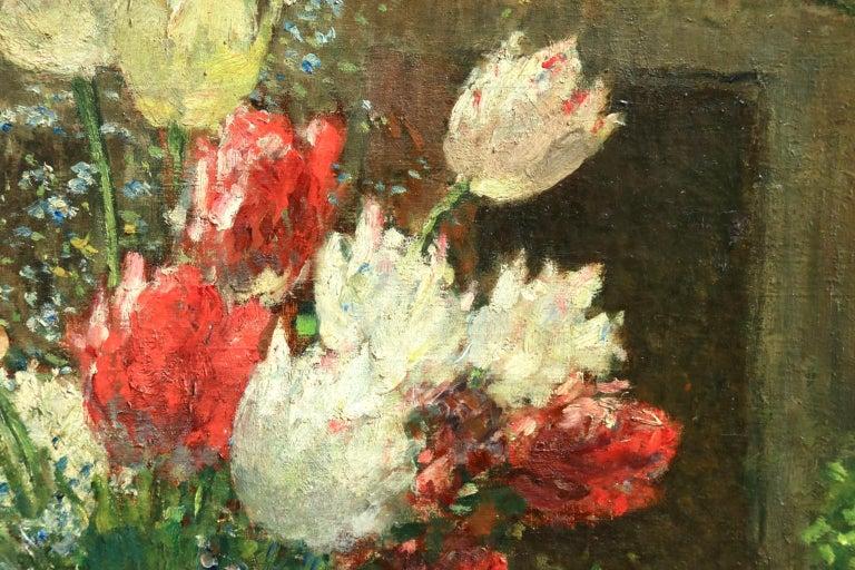 Fleurs et Flute - Impressionist Oil, Still Life of Flowers by Ernest Quost For Sale 4