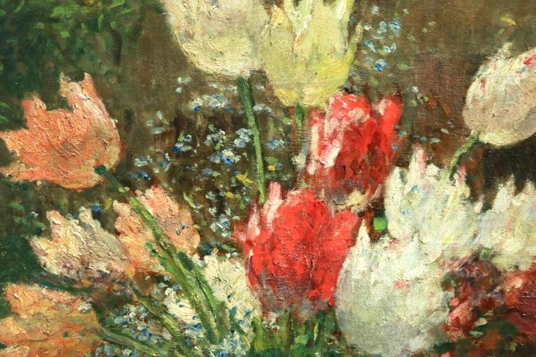Fleurs et Flute - Impressionist Oil, Still Life of Flowers by Ernest Quost For Sale 5