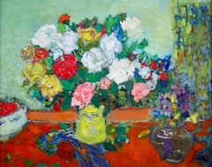 Bouquet de Roses - Post Impressionist Oil, Still Life Flowers by Jean Fusaro