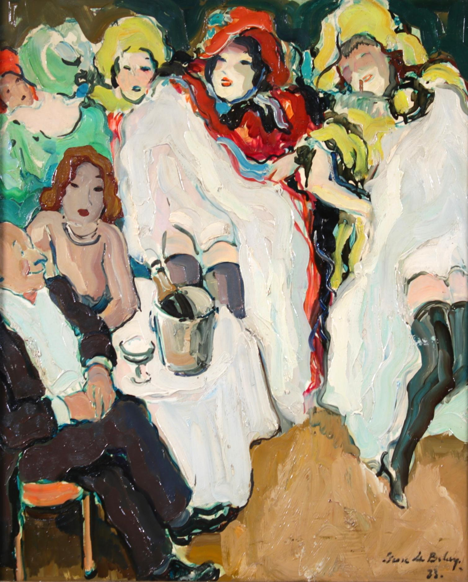 Le Can Can - Bal Tabarin - Post Impressionist Figurative Oil - Pierre de Belay
