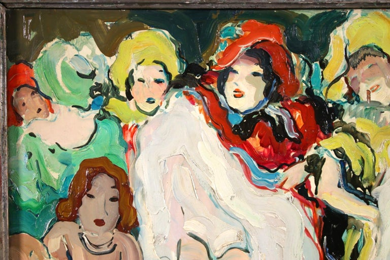 Le Can Can - Bal Tabarin - Post Impressionist Figurative Oil - Pierre de Belay For Sale 4