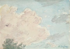 Cloud Study - French Impressionist Watercolor by Henri Duhem