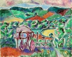 Paysage Provencal - Cubist Oil, Farmland Landscape by Lois Hutton