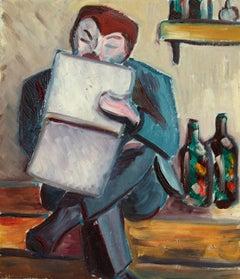 Une Artiste - Cubist Oil, Portrait of Artist in Interior by Lois Hutton