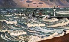 Stormy Weather - Honfleur - Post Impressionist Oil, Seascape by H de Saint-Delis