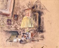 L'abat-jour jaune - Nabis Pastel, Study of Interior by Edouard Vuillard