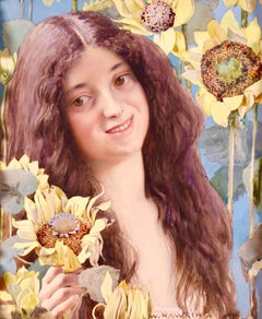Clytie among the Sunflowers - Symbolist Watercolour Portrait by Louis W Hawkins
