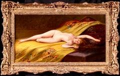 Seduction - 19th Century Oil, Nude Female Figure in Interior by Luis Falero