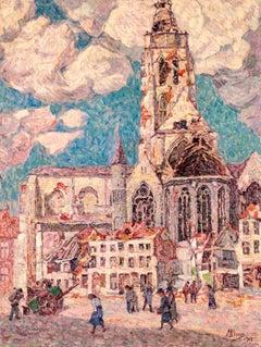 La Tour Blessée, Oudenaarde - 20th Century Oil, Figures Cityscape by Modest Huys