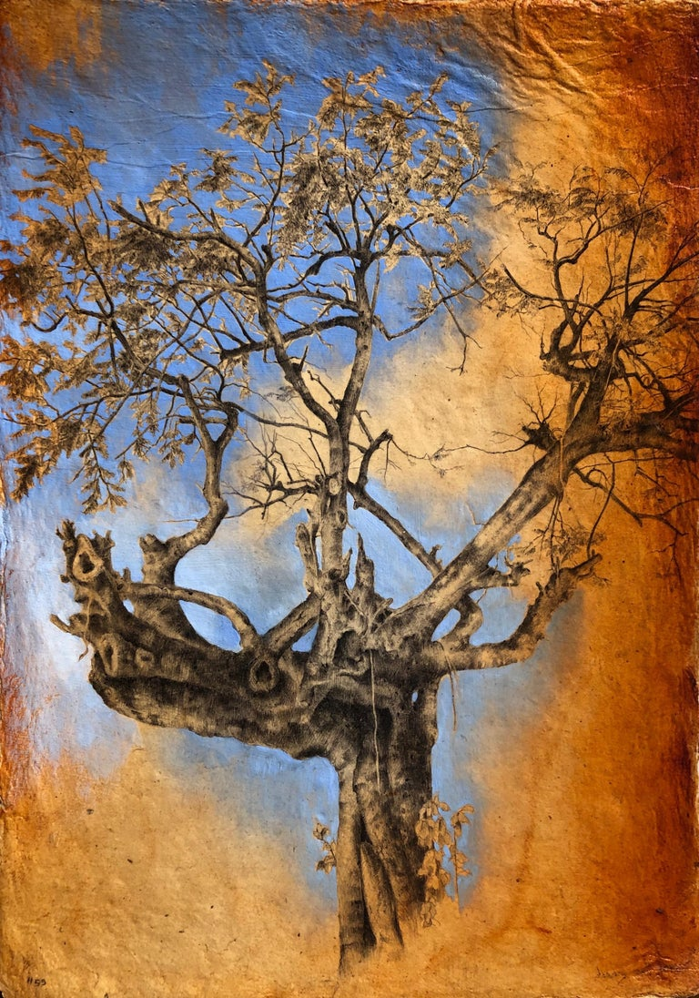 Dina Brodsky, Tree #55, realist ballpoint pen and gouache nature still life - Art by Dina Brodsky