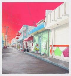 Duvian Montoya, #IslaMujeres, realist gouache cityscape, 2017