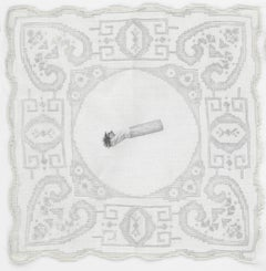 Constance Scopelitis, God is in Clean Laundry: Cigarette, realist carbon drawing