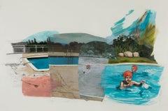 Sharon Shapiro, Up and Comers, surrealist oil, graphite, and collage genre scene