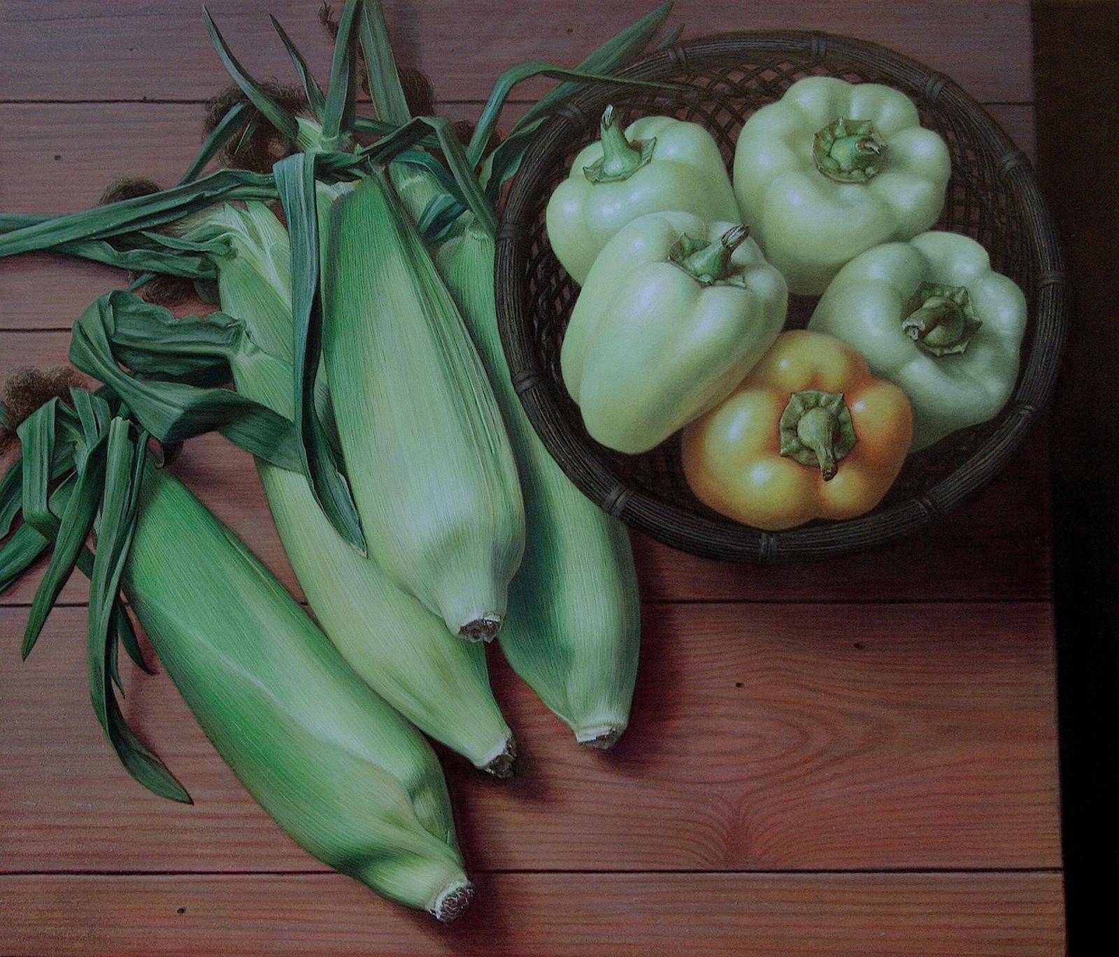 Maize and Capsicum, surrealist vegetable still life egg tempera painting, 2016