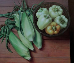 Douglas Safranek, Maize and Capsicum, surrealist still life egg tempera painting