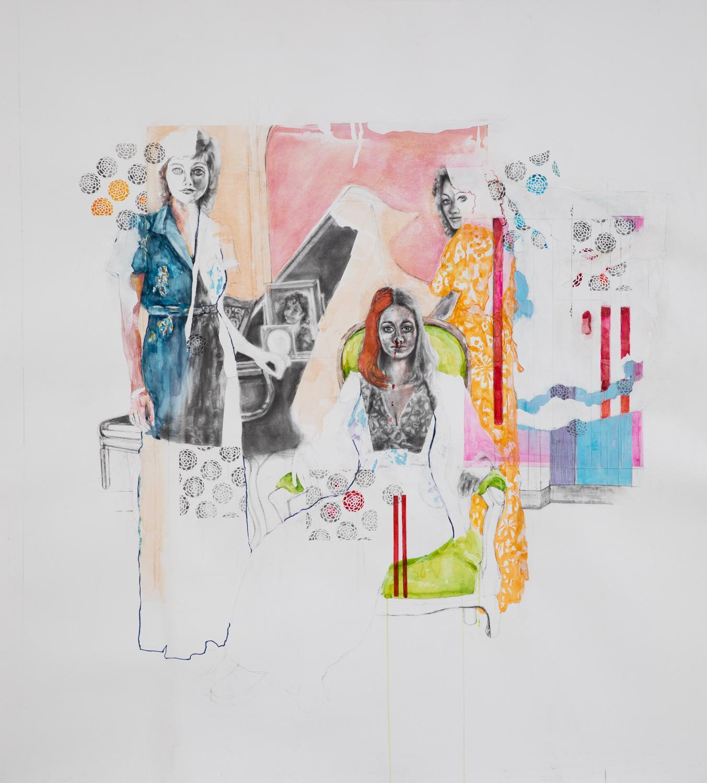 Lady Lazarus, surrealist figurative collage on paper, 2018