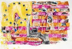 Sharon Shapiro, Miss 1976, surrealist figurative collage on paper, 2019