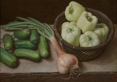 Douglas Safranek, White Peppers, Gherkins, and a Shallot, egg tempera still life