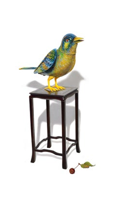 David Morrison, Wind-Up Bird No. 3, hyperrealist color pencil still life drawing