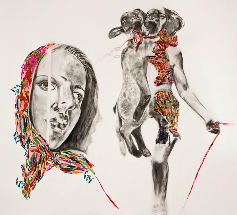 Sharon Shapiro, Pulling the Wool, surrealist figurative collage, 2011