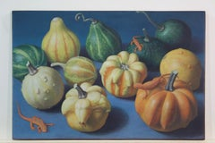 Doug Safranek, Spring Newts and Autumn Gourds, egg tempera animal painting