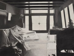 Eileen Murphy, Yaddo, surrealist graphite and charcoal interior drawing, 2013