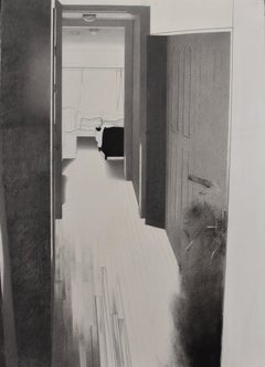 Eileen Murphy, Last Hallway, graphite and gouache realist interior drawing