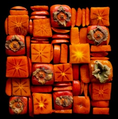 Sarah Phillips, Persimmon Squares, patterned still life food photograph, 2020
