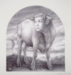 Wade Schuman, Study for the Virtues: Fortitude, ballpoint pen realist drawing