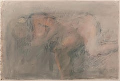 Joan Semmel, Steamroom, oil crayon and oil wash abstracted nude, 1990