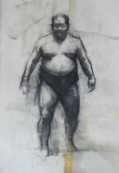 David Shevlino, Sumo Wrestler, charcoal realist figure drawing, 2011