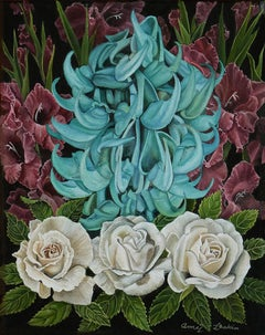 Composition with Jade, purple and blue surrealist floral still life painting