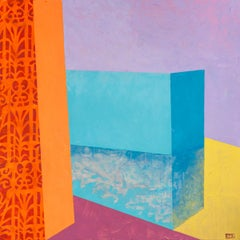Askew #80, abstract multicolored architectural interior acrylic painting, 2020