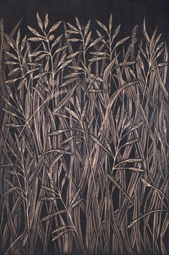 Small Grasses #4, contemporary realist gold point botanical still life drawing