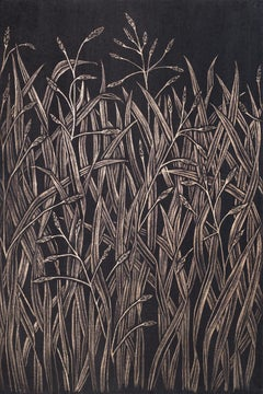 Small Grasses #3, contemporary realist gold point botanical still life drawing