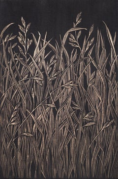 Small Grasses #2, contemporary realist gold point botanical still life drawing