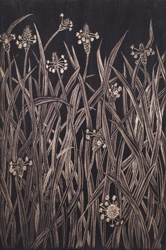 Small Grasses #1, contemporary realist gold point botanical still life drawing