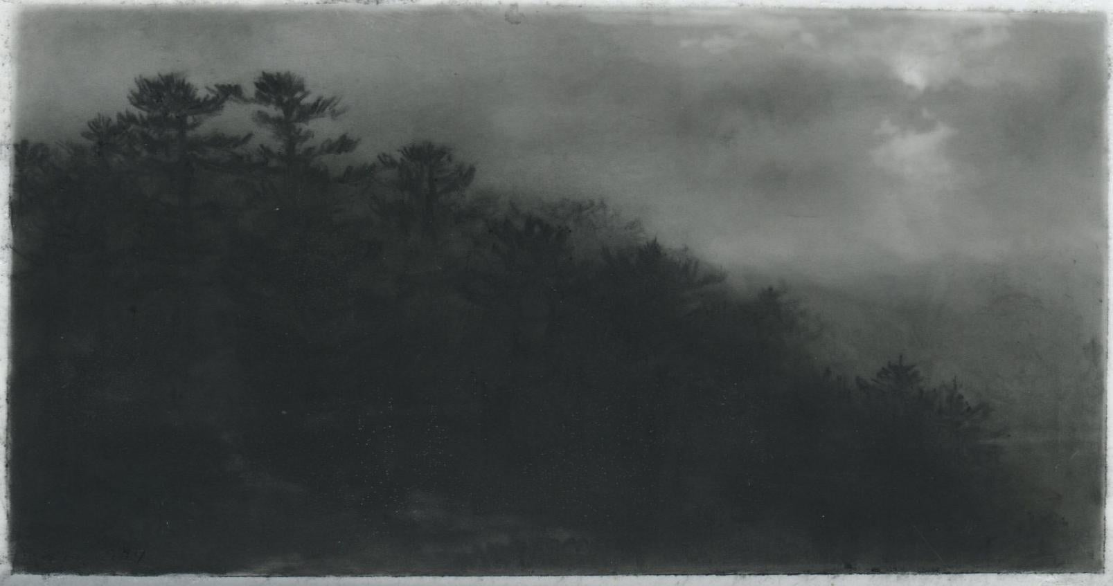 Hill path, night, black and white realist northeastern landscape, charcoal