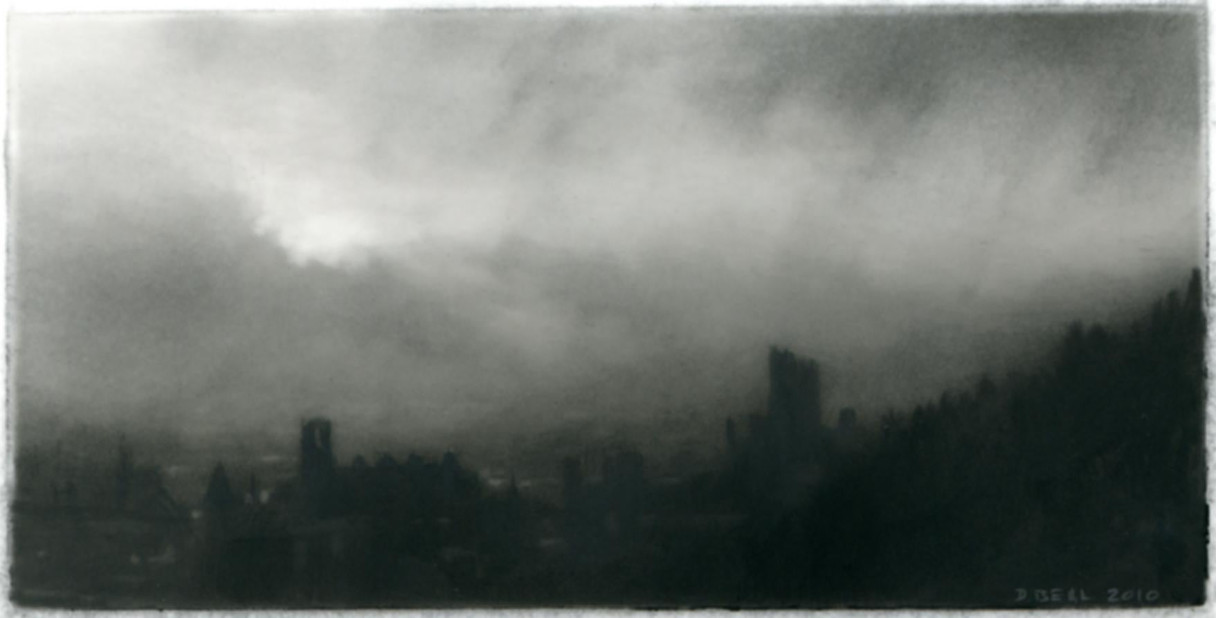 Keep, black and white realist northeastern landscape drawing, charcoal