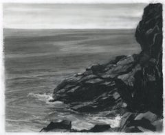 Mohegan, rocks, black and white realist northeastern landscape drawing, charcoal
