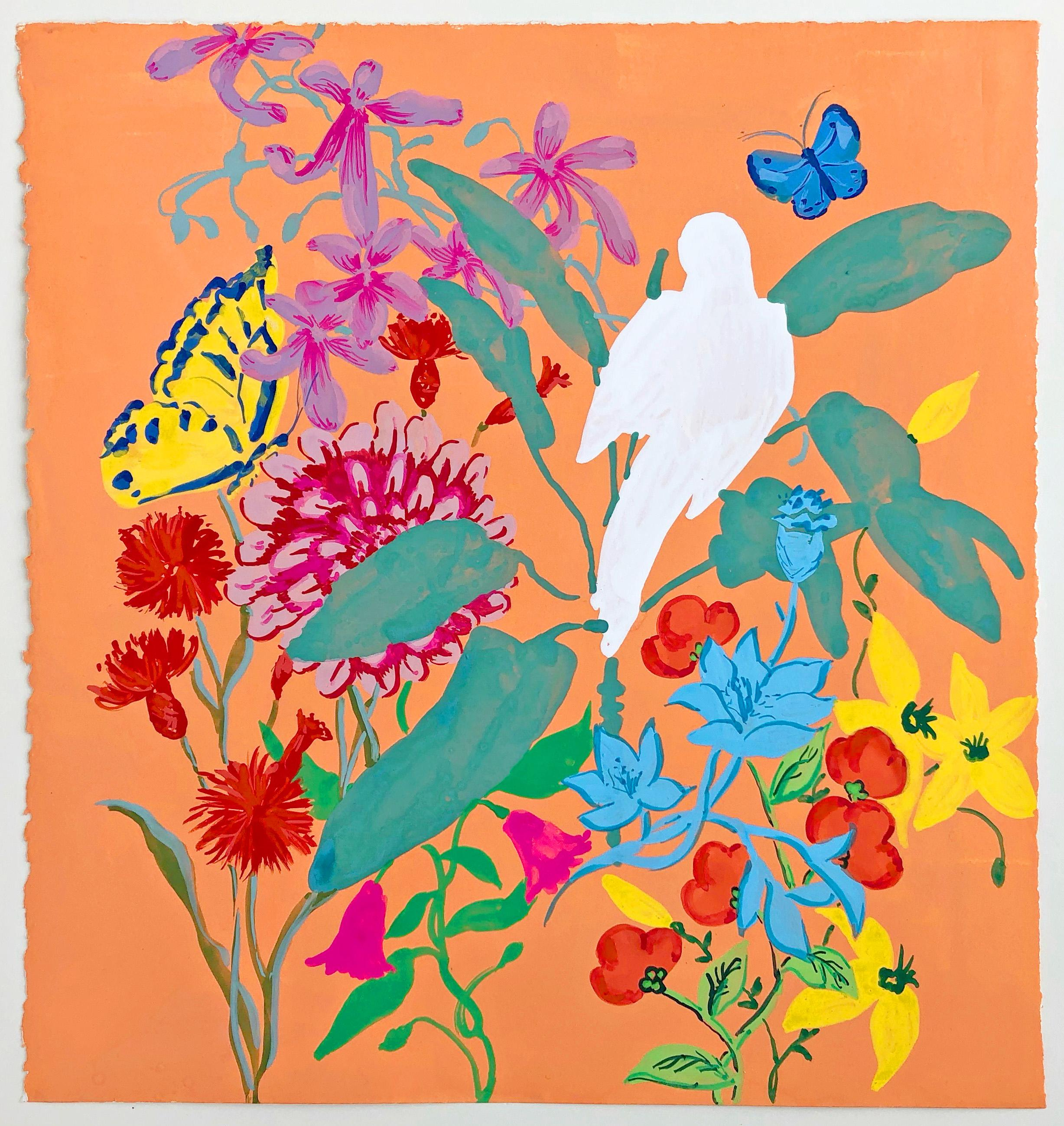 Parrot of Peace, vibrant gouache on paper still life
